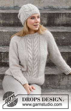 Sweater Knitting Patterns, Knitting Stitches, Knit Patterns, Free Knitting, Drops Design, Sky E, Laine Drops, Pull Torsadé, Drops Patterns