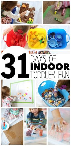 Indoor Toddler Activities for Months – Little Learning Club This is awesome…it will get us through the winter! 31 Days of Indoor Fun for Toddlers…tons of super fun ideas you can do inside with little ones! Indoor Activities For Toddlers, Indoor Activities For Kids, Infant Activities, Fun Activities, Activity Ideas, Children Activities, Toddler Learning, Toddler Fun, Toddler Preschool