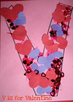 V is for Valentine alphabet craft