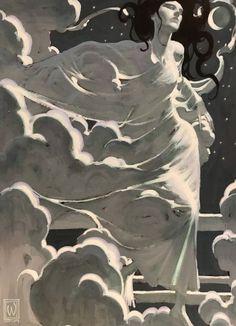 Art Inspo, Goddess Art, Moon Goddess, Arte Do Kawaii, Arte Obscura, Art Watercolor, Arte Sketchbook, Pretty Art, Aesthetic Art