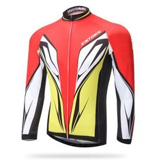Men's Yellow Red Long Sleeve Cycling Jersey #Cycling #CyclingGear #CyclingJersey