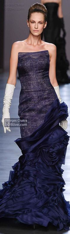 Georges Chakra FW 2014-15 | dark navy strapless gown with tiered ruffles