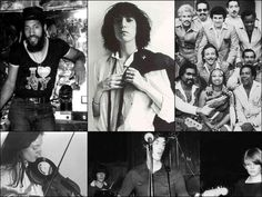 #NYC 1970's #music scene.. Clockwise from top left: DJ Kool Herc, Patti Smith, the Fania All-Stars, Talking Heads at CBGB, Laurie Anderson and her viophonograph.