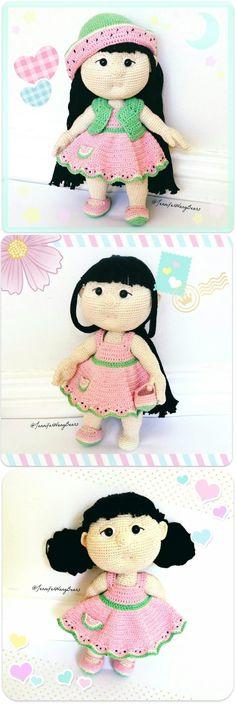 """心甜 Xintian (Sweetheart) crochet doll by Jennifer Wang Bears. Original Pattern """"Mia Doll Inspired Watermelon"""" by Havva Designs"""