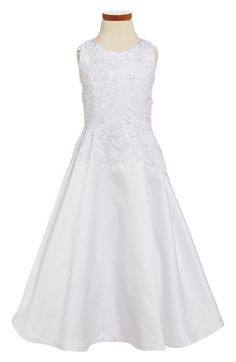Joan Calabrese for Mon Cheri Satin & Lace 'Princess' First Communion Dress (Big Girls) available at #Nordstrom