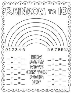 Rainbow Number Combinations that Make Ten ~ Freebie from A Cupcake for the Teacher.