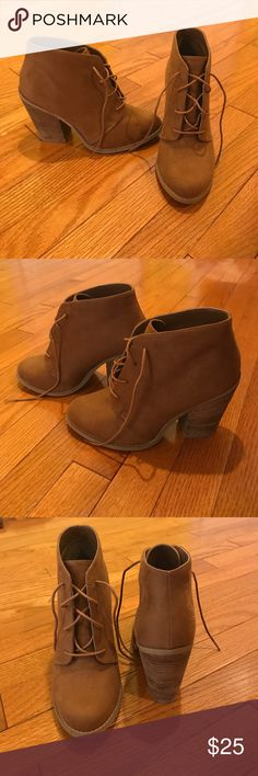 Call It Spring Brown/Tan ankle boots size 8 These adorable brown booties have only been worn once so are in excellent condition. They're a size 8.5 but fit more like an 8. They're very versatile and can be dressed up or down and worn in every season. Call It Spring Shoes Ankle Boots & Booties
