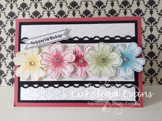 Flower Shop, Happy Birthday Card, Gate Fold, Stampin' Up! a creation by Carolina Evans, Pansy Flower Rainbow Card