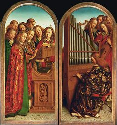 Jan van Eyck, Musical Angels, two panels from the Ghent Altarpiece, 1430-32, oil on panel.   -Music was another important art form. And it began to correspond to poetry.