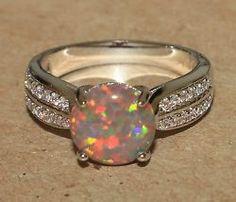 fire opal Cz ring gemstone silver jewelry Sz 7.75 chic modern cocktail style M3