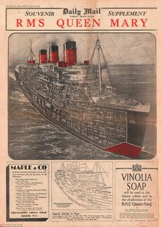 On 24 March two months before the maiden voyage, The Daily Mail published a souvenir supplement on the Queen Mary Titanic Ship, Rms Titanic, Vintage Travel, Vintage World Maps, Queen Mary Ship, Titanic Model, Carnival Corporation, American Cruises, Victoria Harbour