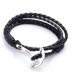 40cm PU Leather Men Bracelet Jewelry Man Anchor Bracelet  ♨️More At FOSTERGINGER At Pinterest ♨️