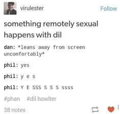 I feel like this describes dan and phil shipping Phan. Dan is uncomfortable and phil is totally okay with it.