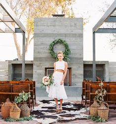 Crop top two piece bridal outfit