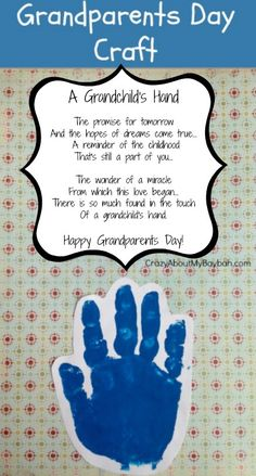 Grandparents Day Craft Handprint Easy Grandparents Day Crafts for Kids it yourself gifts made gifts handmade gifts gifts Daycare Crafts, Baby Crafts, Toddler Crafts, Preschool Activities, Crafts For Kids, Kids Diy, Home And Family Crafts, Infant Crafts, Nanny Activities