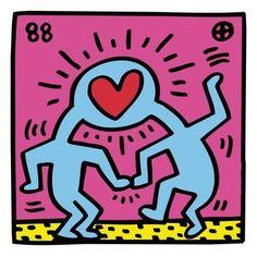 Pop Shop (Heart) Art Print by Keith Haring at Art.com