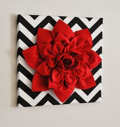 "Red Wall Flower -Red Dahlia on Black and White Chevron 12 x12"" Canvas Wall Art- $34, via Etsy."