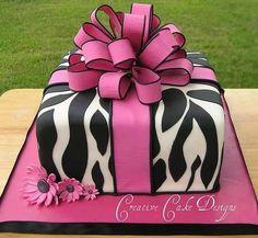 Zebra/hot pink cake