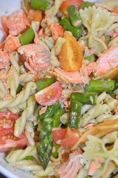 Lili popotte: Salade de pâtes au saumon, aux asperges et au pesto