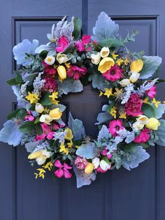 Spring Wreath Pink Yellow Wreath Spring Gift Ideas New Home Gift Housewarming Gift Spring Door Wreaths Pink Gift Spring Decorating Door Spring Door Wreaths, New Home Gifts, Pink Gifts, Shades Of Green, Pink Yellow, Grapevine Wreath, House Warming, Backdrops, Floral Wreath