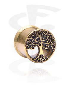 Double Flared Tunnel with Tree Design Piercing Shop, Tunnels And Plugs, Tree Designs, Piercings, Ear, Steel, Tatuajes, Peircings, Piercing
