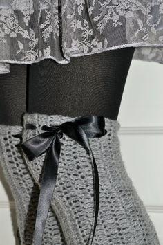Luxury leg warmers Brigitte inspired crochet legwarmers in gray Extra long leg warmers women Elegant  leg warmers