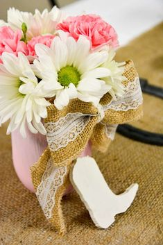 Floral Centerpiece At A Cowgirl Baby Shower Party! See More Party Planning  Ideas At CatchMyParty