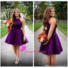 Vintage Grape Purple Beaded 2016 A-Line Homecoming Dresses with Halter Hollow Backless Tulle Short Mini Sweet 16 Graduation Party Prom Gowns Online with $100.3/Piece on Xiaoxiao_2016's Store | DHgate.com