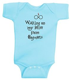 Waiting On My Letter From Hogwarts Funny Harry Potter Romper Wizard by BeeGeeTees (6 Months, Aqua) BeeGeeTees http://www.amazon.com/dp/B00SZJQ3WC/ref=cm_sw_r_pi_dp_5taWvb0YMK2TR