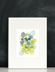 Hexagon in Green and Blue Watercolor Art Print by YaoChengDesign