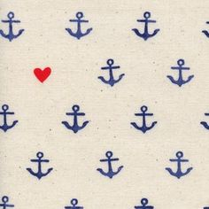 Cotton and Steel House Designer - SS Bluebird - Youre My Anchor in Natural