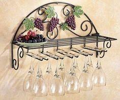 Beautiful Vineyard Grapes & Vines Metal Wall Hanging Wine Glass Holder W/ Shelf