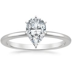 Pear Cut Six-Prong Petite Comfort Fit Diamond Engagement Ring - Platinum