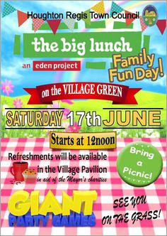 Whats On in Houghton Regis. HRND Event News: The Big Lunch - Village Green - Sunday June 17th