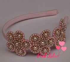 Tiara perolas rosa - Lovely Fitas Mais
