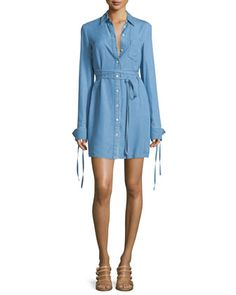 Long-Sleeve+Button-Front+Shirtdress,+Sky+Blue+by+Michael+Kors+Collection+at+Bergdorf+Goodman.