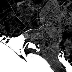 Karachi Pakistan Download PDF Map.  Highly detailed art map for infographic background. White highways, streets and water on black. Bigger bridges wit... ... #download #map #stockimage #graphic #pdf #vector #citymap #city