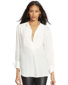 Silk Pleated-Bib Shirt - Polo Ralph Lauren Long-Sleeve