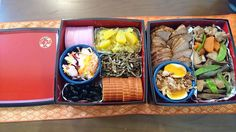2016 osechi -- Japanese seasonal dishes. Japanese make traditional dishes which are called osechi and eat them during new year first 3 days.