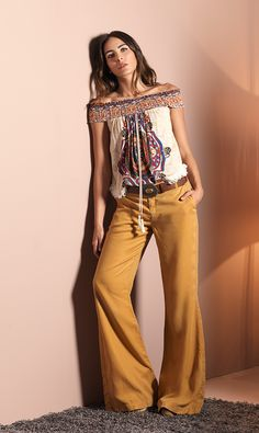 BLUSA-S153671 Bell Bottoms, Bell Bottom Jeans, Colorful, Boho, Woman, Pants, Ideas, Fashion, Blouses