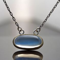 Blue Flash Moonstone Necklace - Bezel Set in 22 Karat Gold and Sterling Silver - Natural Oval Cabochon - Artisan Jewelry