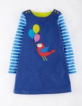 Fun Appliqué Dress (Soft Navy Bird)