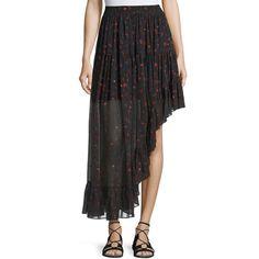 Iro Jonel Printed Asymmetric Chiffon Skirt ($213) ❤ liked on Polyvore featuring skirts, black, women's apparel skirts, a-line skirts, midi skirt, asymmetrical hem skirt, chiffon midi skirt and asymmetrical ruffle skirt