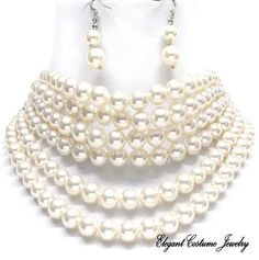Multi Strand Chunky Choker Ivory~color Pearl Necklace.