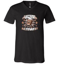 cool Caffeine Powers, Activate! Unisex V-Neck T-Shirt