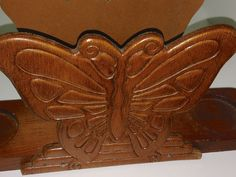 Vintage hand carved Butterfly wood napkin by BargainSeekersIntl