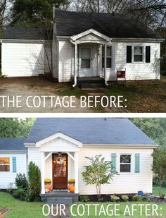 Cottage Exterior – Before & After via The White Buffalo Styling Co. What a darling transformation!Our Cottage Exterior – Before & After via The White Buffalo Styling Co. What a darling transformation! Beach Cottage Style, Coastal Cottage, Cottage Homes, Cottage Porch, Cottage Shutters, Beach House, Southern Cottage, White Cottage, Home Exterior Makeover