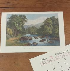 Currier & Ives Calendar Prints ~ The Trout Brook  Ready for framing, measures 16 x 10.75.  Excellent condition.