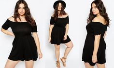 #PlusModelMag Plus Size Fashion Find of The Day: ASOS CURVE Bardot Romper with Sheering Detail at ASOS @PlusModelMag