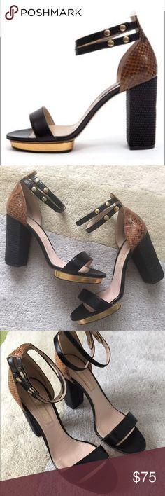 Double ankle strap sandals w/gold platform Gorgeous strappy leather sandals with double ankle straps and a mini gold platform. Good condition. No trades. Jill Stuart Shoes Sandals